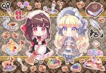2girls :o apron bangs black_dress black_footwear blonde_hair blueberry blunt_bangs blush_stickers bonnet book bookmark brown_hair burning buttons cake candle capelet checkerboard_cookie chibi closed_mouth cookie cup cupcake dress eyebrows_visible_through_hair fire food frilled_apron frills fruit grey_capelet grey_dress grey_legwear ie_(nyj1815) ink inkwell juliet_sleeves kiwi_slice kiwifruit lolita_fashion long_hair long_sleeves macaron maid maid_apron maid_headdress matches multiple_girls needle original pantyhose parted_lips pie puffy_sleeves quill red_eyes ribbed_legwear saucer scissors sewing_needle slice_of_cake smile spoon tea teacup teapot thread tiered_tray white_apron white_legwear yellow_eyes