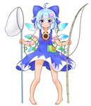 1girl >:) absurdres ahoge ass_visible_through_thighs barefoot blue_bow blue_dress blue_eyes blue_hair blush bow butterfly_net cirno dress fishing_rod flower frilled_sleeves frills full_body hair_between_eyes hair_bow hair_flower hair_ornament hand_net hidden_star_in_four_seasons highres ice ice_wings looking_at_viewer mofu_mofu morning_glory neck_ribbon puffy_short_sleeves puffy_sleeves red_ribbon ribbon short_hair short_sleeves solo sparkling_eyes sunflower tan tanned_cirno touhou v-shaped_eyebrows white_background wings