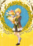 1boy :d artist_name balloon blonde_hair brown_footwear colornix commentary_request dated flower lily_of_the_valley looking_at_viewer male_focus open_mouth original penny_loafers personification purple_eyes shorts smile white_legwear wreath yellow_background yellow_flower