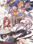 1boy 4girls absurdres animal_ears armlet armor aurelion_sol_(league_of_legends) bare_shoulders bebseo black_hair black_sclera blue_eyes blue_skin bracelet braid breasts bug butterfly cat_ears claws dated evelynn fang green_eyes highres horn insect jewelry katarina_du_couteau kayn league_of_legends long_hair looking_at_another looking_at_viewer medium_breasts multiple_girls open_mouth orange_hair pointy_ears poro_(league_of_legends) purple_eyes purple_skin red_eyes red_hair sideboob sitting smile soraka standing tattoo warwick whisker_markings white_hair yellow_eyes zoe_(league_of_legends)