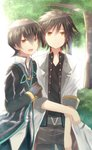 2boys black_hair black_shirt blue_pants brown_eyes brown_gloves bush commentary_request day dual_persona gloves grey_pants highres jude_mathis long_sleeves looking_at_viewer male_focus multiple_boys outdoors pants rento_(rukeai) shirt sleeves_rolled_up smile tales_of_(series) tales_of_xillia tales_of_xillia_2 tree white_shirt