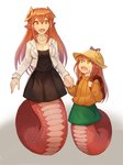 2girls :d absurdres backpack bag bangs black_dress breasts cleavage collarbone commission dress fang gradient gradient_background green_skirt hair_between_eyes hair_ornament hairclip hat highres holding_hands holding_strap jacket lamia long_hair long_sleeves looking_at_another miia_(monster_musume) monster_girl monster_musume_no_iru_nichijou mother_and_daughter multiple_girls open_mouth orange_eyes orange_hair orange_shirt original pointy_ears randoseru scales shirt simple_background skirt smile sookmo white_jacket yellow_eyes