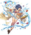 1girl ass_visible_through_thighs banana bangs bare_shoulders blue_eyes blue_hair book braid breasts cleavage collarbone covered_navel cuboon eyebrows_visible_through_hair fire_emblem fire_emblem:_seima_no_kouseki fire_emblem_heroes food front_braid fruit full_body highres holding holding_book long_hair long_legs looking_away medium_breasts official_art one-piece_swimsuit open_book open_mouth open_toe_shoes pineapple ponytail sandals shiny sidelocks smile solo sparkle striped striped_towel swimsuit tana toeless_legwear towel transparent_background water