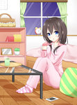 1girl ahoge alarm_clock bag bangs bed blue_eyes blush book brown_hair cellphone clock coffee_table collarbone commentary_request cup curtains eyebrows_visible_through_hair glass_table hair_between_eyes hair_ornament hair_over_shoulder hair_scrunchie holding holding_cup looking_at_viewer low_twintails night night_sky no_shoes on_floor original pajamas pants parted_lips phone pillow pink_pajamas pink_pants pink_scrunchie pink_shirt plant polka_dot polka_dot_scrunchie potted_plant roido_(taniko-t-1218) scrunchie shirt sitting sky smartphone socks solo steam striped striped_legwear table tray twintails window wooden_floor