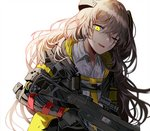 1girl armband bangs bruise_on_face collared_shirt commentary crossed_bangs damaged dirty girls_frontline gloves gun h&k_ump45 hair_between_eyes hair_ornament headgear hood hood_down hooded_jacket jacket light_brown_hair long_hair looking_at_viewer mechanical_arm mod3_(girls_frontline) one-eyed one_side_up open_mouth scar scar_across_eye shirt sidelocks silence_girl simple_background smile torn_clothes trigger_discipline ump45_(girls_frontline) weapon white_background white_shirt yellow_eyes