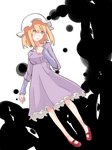 1girl black_clouds blonde_hair creepy dress eyes floating hand_on_own_chest hat looking_to_the_side maribel_hearn mary_janes mob_cap purple_dress red_shoes shiroshi_(denpa_eshidan) shoes simple_background solo staring touhou worried yellow_eyes