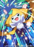2016 commentary_request jirachi no_humans official_art pokemon pokemon_(creature) pokemon_(game) pokemon_trading_card_game saitou_naoki smile solo trading_card watermark