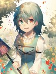 1girl :d blue_eyes blue_hair blush bodice commentary dappled_sunlight happy heterochromia juliet_sleeves long_sleeves looking_at_viewer motsuba open_mouth petals puffy_sleeves red_eyes skirt smile solo sunlight tatara_kogasa touhou umbrella