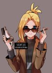 1girl black_sweater blonde_hair blue_eyes brown_coat coat cross cross_earrings earrings grey_background gun hair_over_one_eye handgun holding holding_gun holding_weapon jewelry mercy_(overwatch) overwatch pistol rimless_eyewear short_ponytail smoking solo sunglasses supershrimpcakes sweater trench_coat trigger turtleneck turtleneck_sweater weapon