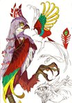 animalization asparrowthanasnail-oji beak bird bow claws feathered_wings feathers fujiwara_no_mokou green_feathers hair_bow hair_ribbon long_hair no_humans phoenix red_feathers ribbon sharp_teeth simple_background sketch solo teeth touhou white_background white_hair wings yellow_eyes yellow_feathers