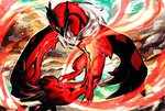 claws flying glowing green_eyes mayugoso monster no_humans pokemon pokemon_(game) pokemon_xy sky solo tail yveltal