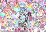 39 3boys 3girls ;< ;> artist_name balloon bangs blue_bow blue_eyes blue_neckwear bow bowtie brown_hair clenched_hand closed_mouth commentary_request copyright_name dress hair_between_eyes hair_ornament hairband hatsune_miku heart kagamine_len kagamine_rin kaito looking_at_viewer magical_mirai_(vocaloid) megurine_luka multicolored multicolored_background multicolored_eyes multicolored_footwear multicolored_hair multicolored_hairband multiple_boys multiple_girls open_mouth polka_dot purple_eyes red_neckwear star striped tera vocaloid yellow_dress