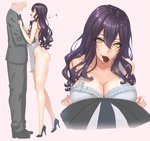 1boy 1girl age_difference apron black_shoes breasts business_suit chocolate chocolate_heart cleavage damegane formal grey_hair hair_between_eyes heart hetero high_heels highres large_breasts light_smile long_hair long_legs looking_at_viewer mouth_hold naked_apron original pink_background pov profile purple_eyes purple_hair shoes simple_background standing suit tiptoes wavy_hair yellow_eyes