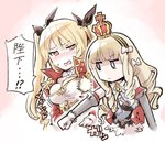 2girls anchor_symbol azur_lane bangs black_ribbon blonde_hair blue_bow blue_eyes blush bow breast_envy breast_punch breasts cleavage closed_mouth commentary cross crown detached_sleeves drill_hair epaulettes eyebrows eyebrows_visible_through_hair eyes_visible_through_hair gloves hair_between_eyes hair_bow hair_ribbon hairband highres ishiyumi jacket jitome long_hair long_sleeves medium_breasts military military_uniform mini_crown motion_lines multicolored multicolored_background multiple_girls nelson_(azur_lane) no_nose nose_blush open_clothes open_jacket open_mouth outline pink_background punching queen_elizabeth_(azur_lane) red_eyes red_jacket ribbon ringlets shaded_face small_breasts sweatdrop teeth translated tsurime twintails two-tone_background uniform upper_body white_background white_bow white_gloves white_outline yellow_hairband
