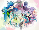 6+girls ahoge aqua_eyes aqua_hair arm_up bare_shoulders beret black_dress black_gloves black_legwear blood blood_from_mouth blue_hair bow chibi circle_formation closed_eyes covering_ears detached_sleeves dress ghost_rule_(vocaloid) gloves green_jacket hachune_miku hair_bow hair_ribbon hand_on_hip hat hatsune_miku highres jacket japanese_clothes low_twintails matryoshka_(vocaloid) multiple_girls multiple_persona necktie open_mouth paint_splatter ren'ai_saiban_(vocaloid) ribbon senbon-zakura_(vocaloid) shinkai_shoujo_(vocaloid) smile songover spring_onion standing tell_your_world_(vocaloid) thighhighs twintails uiyuzu_(uichoco) vocaloid white_dress wide_sleeves world_is_mine_(vocaloid) wrist_cuffs zettai_ryouiki