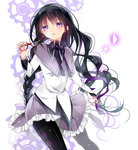 1girl akemi_homura ayumaru_(art_of_life) black_hair black_legwear braid expressionless frilled_skirt frills glasses glasses_removed hair_half_undone hair_ribbon hairband headband highres long_hair looking_at_viewer magical_girl mahou_shoujo_madoka_magica pantyhose parted_lips purple_eyes red-framed_glasses ribbon skirt solo