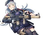 1girl ammunition android assault_rifle bag bangs beret black_legwear blood blunt_bangs earbuds earphones facial_mark girls_frontline gloves goggles goggles_around_neck green_eyes grimace gun hair_ornament handgun hat heckler_&_koch hk416 hk416_(girls_frontline) holster holstered_weapon injury itou_(onsoku_tassha) pistol plaid plaid_skirt rifle scope shoulder_bag silver_hair skirt tearing_up tears thighhighs torn_clothes torn_legwear torn_sleeves weapon