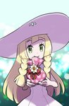 1girl blonde_hair braid closed_mouth commentary_request dress gift_bag green_eyes hat lillie_(pokemon) long_hair pokemon pokemon_(game) pokemon_sm sleeveless sleeveless_dress smile solo sun_hat twin_braids ukata upper_body white_dress white_headwear
