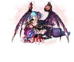 1girl aqua_hair breasts clawed_gauntlets cleavage_cutout demon demon_girl demon_horns demon_wings eyebrows_visible_through_hair garter_straps garters gauntlets gloves goat_horns gothic_lolita gradient_hair high_heels horn_ribbon horns kneeling lapis_(sennen_sensou_aigis) large_breasts leg_belt lolita_fashion looking_at_viewer multicolored_hair official_art one-eyed ribbon sennen_sensou_aigis skull spirit tassel thighhighs torn_wings twintails wings yellow_eyes