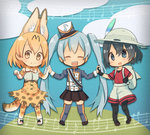 3girls :d ^_^ backpack bag black_hair black_legwear black_skirt blonde_hair blue_eyes blue_hair bow bowtie chibi closed_eyes crossover doremifa_rondo_(vocaloid) extra_ears hair_between_eyes hat hat_feather hatsune_miku high-waist_skirt highres holding_hands kaban_(kemono_friends) kemono_friends long_hair looking_at_viewer mini_hat mini_top_hat multiple_girls musical_note open_mouth pantyhose pantyhose_under_shorts pleated_skirt print_bow print_legwear print_neckwear print_skirt red_shirt serval_(kemono_friends) serval_print serval_tail shirt short_hair shorts skirt smile tail thighhighs top_hat twintails very_long_hair vocaloid white_hat yellow_eyes yutsu