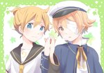 2boys :o bandage_over_one_eye bandages bass_clef blonde_hair blue_coat blue_eyes close-up coat expressionless green_background hands_together happy hat holding_hands interlocked_fingers kagamine_len kana_(okitasougo222) looking_at_viewer male_focus multiple_boys neck_ribbon necktie oliver_(vocaloid) ribbon sailor_collar sailor_hat shirt short_hair simple_background smile star starry_background upper_body vocaloid white_background white_shirt yellow_eyes