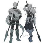 2boys achilles_(fate) arm_up armored_boots asaya_minoru bangs boots cu_chulainn_(fate/prototype) eyebrows_visible_through_hair fate/apocrypha fate/prototype fate_(series) fur_trim gloves greyscale hair_between_eyes hand_on_hip holding holding_spear holding_weapon knee_boots long_hair low_ponytail male_focus monochrome multiple_boys open_mouth orange_eyes parted_lips pauldrons polearm ponytail puffy_pants simple_background spear standing twitter_username v-shaped_eyebrows vambraces weapon white_background