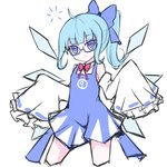 (9) 1girl ahoge alternate_hairstyle bespectacled blue_dress blue_eyes blue_hair bow bowtie cirno commentary contrapposto detached_sleeves dress glasses hair_bow ice ice_wings ponytail short_dress sleeveless sleeveless_dress sleeves_past_wrists smile solo standing touhou vils wings
