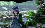1girl backpack bag bangs blue_eyes blue_hair blue_shirt blue_skirt blurry blurry_background collared_shirt cowboy_shot foliage green_backpack hair_bobbles hair_ornament hat highres holding_strap kawashiro_nitori key long_sleeves nature open_mouth outdoors pocket rock ryosios shirt skirt skirt_set solo standing stream touhou two_side_up