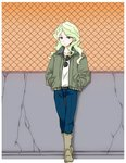 1girl blonde_hair blue_eyes boots commentary_request denim diana_cavendish earrings fence hands_in_pockets jacket jeans jewelry little_witch_academia pants raisun solo sunglasses