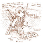 1girl ;( akagi_(kantai_collection) blush chopsticks commentary cooking dated food food_on_face japanese_clothes kantai_collection kirisawa_juuzou long_hair monochrome muneate partially_translated rice rice_bowl rice_on_face solo translation_request twitter_username