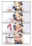 1boy 1girl 4koma :d =_= abigail_williams_(fate/grand_order) afterimage animal arm_up bangs black_bow black_dress black_headwear blonde_hair blue_eyes blush bow cat cat_teaser chaldea_uniform closed_eyes closed_mouth comic commentary crying dress fate/grand_order fate_(series) flying_sweatdrops forehead fujimaru_ritsuka_(male) hair_bow hat heart highres holding jacket long_hair long_sleeves multiple_hair_bows open_mouth orange_bow parted_bangs polka_dot polka_dot_bow scratching shimokirin silent_comic sleeves_past_fingers sleeves_past_wrists smile squatting streaming_tears tears trembling uniform very_long_hair wavy_mouth white_jacket
