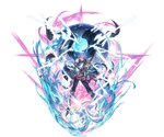 1boy armor blue_eyes boots cape gauntlets granblue_fantasy grimnir hand_on_own_arm hand_on_own_face heterochromia lightning male_focus minaba_hideo official_art pants pointy_ears red_eyes shoulder_armor silver_hair smile wind