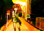 1girl bottle brown_eyes brown_hair building city commentary_request cowboy_shot fence holding holding_bottle kantai_collection legs limited_palette looking_at_viewer one_eye_closed open_mouth ramune rigging road road_sign shoulder_strap sign solo speaking_tube_headset turret urban yoshioka_yoshiko yukikaze_(kantai_collection)