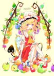1girl :o absurdres apple apple_core apple_hair_ornament bandaged_arm bandages bangs bitten_apple blonde_hair blunt_bangs bow commentary_request dress earrings english_text flandre_scarlet food food_themed_hair_ornament frilled_hat frilled_shirt_collar frills fruit full_body green_apple hair_ornament hat highres holding holding_food holding_fruit jewelry leaf looking_at_viewer mary_janes mirror neckerchief pink_bow puffy_short_sleeves puffy_sleeves rainbow_order red_apple red_dress red_eyes red_footwear shoes short_hair short_sleeves sitting skin_fang socks solo tail touhou umemaro_(siona0908) wavy_hair white_legwear wings yellow_background yellow_bow yellow_neckwear