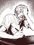 1boy asutora biting clenched_teeth commentary_request drawing_tablet glasses greyscale hand_in_hair highres holding lip_biting monochrome original sanpaku scared short_sleeves solo stylus sweat teeth trembling upper_body wide-eyed