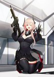 1girl :d albino android assault_rifle bad_id bad_pixiv_id balaclava fangs girls_frontline gun hayabusa highres kneeling looking_at_viewer m4_carbine m4_sopmod_ii m4_sopmod_ii_(girls_frontline) miniskirt one_eye_closed open_mouth pale_skin pink_hair pleated_skirt red_eyes rifle skirt smile solo sopmod thighhighs weapon zettai_ryouiki