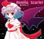 15_(tooka) 1girl ascot bat_wings blue_hair bow character_name hat hat_bow mob_cap red_eyes remilia_scarlet solo touhou twitter_username wings