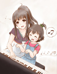 2girls :d ^_^ akihisa201 bad_id bad_pixiv_id beamed_eighth_notes brown_eyes closed_eyes dotted_quarter_note eighth_note family hair_bobbles hair_ornament instrument long_hair mother_and_daughter motherly multiple_girls musical_note open_mouth overalls piano ponytail quarter_note sakai_mahiru sakai_wakana short_hair short_ponytail smile spoken_musical_note tari_tari younger