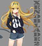 1girl bangs blonde_hair breasts casual collarbone commentary contemporary cup cutoffs disposable_cup drawstring drinking drinking_straw eyebrows_visible_through_hair eyes_visible_through_hair gem grey_background hand_in_pocket headpiece highres hikari_(xenoblade_2) holding holding_cup hood hoodie kiiro_kimi long_hair long_sleeves medium_breasts number short_shorts shorts simple_background solo swept_bangs tiara tsurime very_long_hair xenoblade_(series) xenoblade_2 yellow_eyes