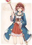1girl :d atelier_(series) atelier_sophie bangs blue_coat blush brown_background brown_eyes brown_hair character_name coat collarbone commentary_request cropped_legs eyebrows_visible_through_hair fang frilled_skirt frills highres holding holding_staff long_sleeves looking_at_viewer open_clothes open_coat open_mouth orb pleated_skirt red_skirt sekira_ame shirt skirt smile solo sophie_neuenmuller staff two-tone_background underbust white_background white_shirt wide_sleeves