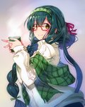1girl aran_sweater bangs bespectacled braid bug_(artist) closed_mouth coffee_mug commentary_request cup eyebrows_visible_through_hair fringe_trim glasses green_eyes green_hair green_scarf hair_between_eyes hair_over_shoulder hair_ribbon hairband hands_up holding holding_cup long_hair long_sleeves looking_at_viewer looking_to_the_side mug plaid plaid_scarf red-framed_eyewear red_ribbon ribbon scarf shawl sidelocks single_braid sleeves_past_wrists smile solo steam sweater touhoku_zunko turtleneck turtleneck_sweater upper_body very_long_hair vocaloid voiceroid