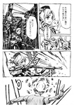 1girl beret comic drill_hair fingerless_gloves gloves greyscale grin gun hat headshot kyubey magical_girl mahou_shoujo_madoka_magica monochrome nobita open_mouth smile tomoe_mami traffic_light translated twin_drills twintails weapon