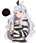 1girl bare_shoulders blush bound bound_wrists bow cuffs eyebrows_visible_through_hair grey_hair hair_bow hair_intakes handcuffs highres idolmaster idolmaster_(classic) long_hair looking_at_viewer nose_blush parted_lips prison_clothes red_eyes shijou_takane shirt simple_background solo spoken_blush striped striped_shirt tears tuxedo_de_cat upper_body white_background
