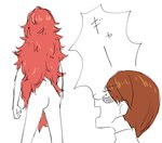 2others androgynous ass brown_hair from_behind houseki_no_kuni long_hair multiple_others nude open_mouth padparadscha_(houseki_no_kuni) red_hair rutile_(houseki_no_kuni) shaded_face short_hair simple_background standing tea_oden translation_request very_long_hair white_background