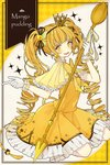1girl :d akakura bangs black_ribbon blonde_hair bow bowtie commentary_request crown dress drill_hair earrings english_text food food_fantasy frilled_gloves frills gloves hair_ornament hair_ribbon highres holding holding_spoon index_finger_raised jewelry long_hair looking_at_viewer mango open_mouth orange_dress oversized_object pudding ribbon sidelocks sitting smile solo sparkle spoon star star-shaped_pupils striped striped_neckwear symbol-shaped_pupils twin_drills very_long_hair white_gloves yellow_bow yellow_capelet yellow_dress yellow_eyes yellow_neckwear yellow_ribbon