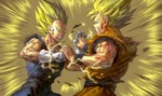 2boys aura blonde_hair blood bruise dirty dragon_ball dragon_ball_z electricity facial_mark forehead_mark gloves green_eyes grin highres injury kim_yura_(goddess_mechanic) multiple_boys shirt smile son_gokuu struggling super_saiyan super_saiyan_2 torn_clothes torn_shirt vegeta white_gloves wristband