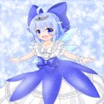 1girl adapted_costume ahoge blue_dress blue_eyes blue_hair blush bow cirno collarbone commentary dress frilled_dress frills hair_bow highres ice ice_wings jewelry layered_dress mofu_mofu necklace open_mouth outstretched_arms overskirt pendant puffy_short_sleeves puffy_sleeves see-through short_sleeves smile solo tiara touhou white_dress wings wrist_cuffs