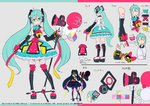 1girl >:) aqua_hair balloon bow character_sheet detached_sleeves from_behind full_body green_eyes grey_background hair_ornament hatsune_miku long_hair looking_at_viewer magical_mirai_(vocaloid) megaphone microphone_stand mika_pikazo multiple_views official_art smile standing tattoo thighhighs twintails v-shaped_eyebrows very_long_hair vocaloid