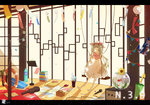 1girl alternate_costume aqua_hair bag barefoot blonde_hair book book_stack bottle bow cable collarbone confetti crop_top cup fireworks fish fishbowl flower goldfish handbag hat hat_bow hatsune_miku horizontal_stripes indoors instrument_case japanese_clothes kagamine_len kagamine_rin kimono kinokohime_(mican02rl) letterboxed lifebuoy light_brown_hair light_particles long_hair microphone midriff music_stand navel open_book paper pennant photo_(object) pillow plant potted_plant rug scissors shadow shirt skirt string_of_flags striped striped_shirt sun_hat sunflower sunlight swing twintails umbrella very_long_hair vocaloid white_skirt wind_chime window_shade yukata