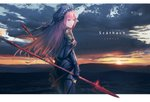 1girl bangs beads bodysuit breasts capelet character_name closed_mouth cloud cowboy_shot dual_wielding english expressionless fate/grand_order fate_(series) floating_hair from_behind gae_bolg gem gloves harng1239 highres holding holding_spear holding_weapon landscape letterboxed long_hair looking_at_viewer looking_back medium_breasts mountainous_horizon outdoors outside_border pink_hair polearm purple_bodysuit purple_capelet purple_gloves red_eyes scathach_(fate/grand_order) shoulder_armor solo spear standing sun sunlight sunset veil weapon wind